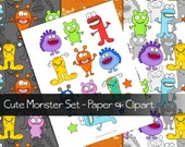 Cute Monsters Paper Pack and Clip Art - Digital and Printable