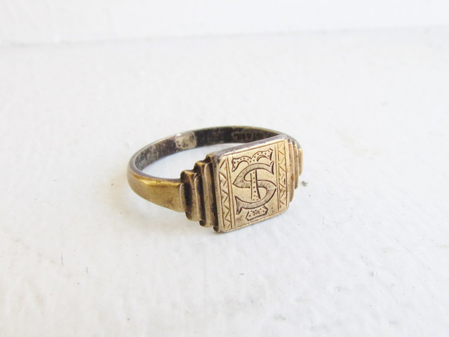 antique signet ring size 9 5 gold sterling