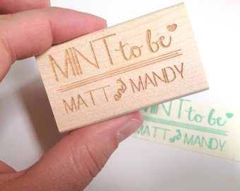 "Mint to be. Custom wedding favor stamp. 2""x1"" Mint bridal shower favors."