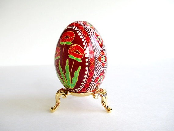 Red Poppies pisanka Ukrainian Easter egg