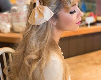 Oversized Huge Pastel Peach Hair Bow Rockabilly Pin Up Girl Hair Clip