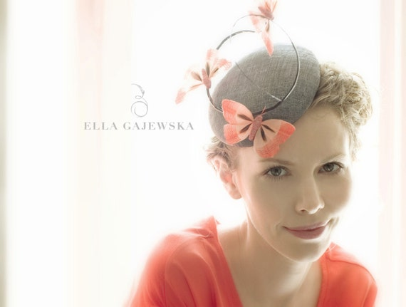 GREY STRAW HAT Cocktail Straw Mini Hat Pillbox Orange Butterflies Headpiece Gift Fascinator Butterfly Weddings Party Races