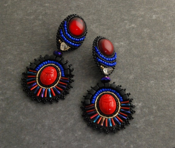 SALE - Scarab Geometry Large Statement Earrings, Bead Embroidered, Red and Blue Conversation Starter Earrings
