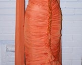 RESERVED FINAL PAYMENT- Monroe Orange Mermaid Dress- Chiffon Formal Evening Gown- Wedding Dress-Custom Made to Size