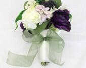Wedding Toss Bouquet, Bridesmaids Bouquet, Purple and Cream Ranunculus, Green Calla, Hydrangea Bouquet