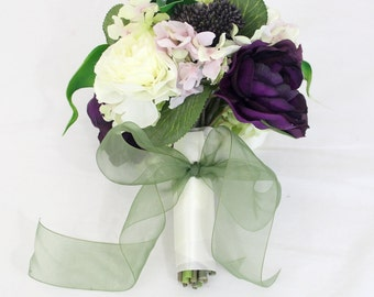 Wedding Toss Bouquet, Bridesmaids Bouquet, Purple and Cream Ranunculus, Green Calla, Hydrangea Bouquet