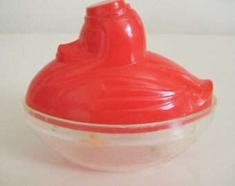 Vintage Candy Container Rosen Red Plastic Duck Candy Container