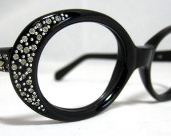 Vintage Eyeglasses 60s Round Rhinestone Frames. Black with Rhinestones