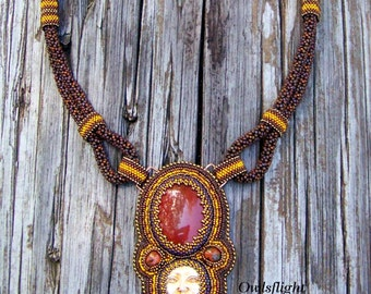 Carnelian and Polymer Clay Face Chenille Weave Necklace (Egyptian Sun)