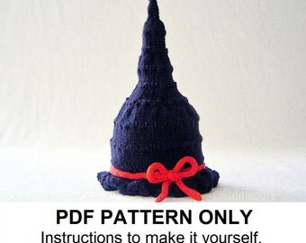 Knitting Pattern - Baby Witch Hat Pattern - the GLINDA Hat (Newborn, Baby, Toddler, Child & Adult sizes incl'd)