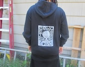 Black Anarchy Hoodie - Even if the World Ended Tommorrow, I Would Still Plant a Tree Today, Large - screenprint punk zipper zip pocket hoody