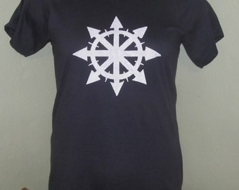 Chaos Shirt - White on Navy Blue Fitted Shirt, Organic, Small or Extra Small XS - chaos symbol anarchy magic unisex women punk anarchist