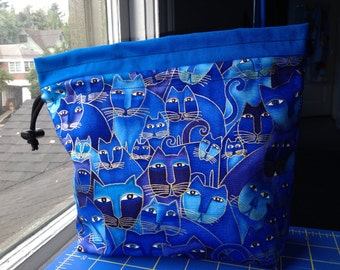 Blue Cats Knitting Bag
