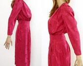 Vintage 1980s Dress Raspberry Magenta Curvy Dress / Extra Small to Small