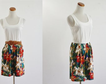 Vintage Romper, Vintage Playsuit, Exotic Flower Print Shorts, Sleeveless White Blouse with Floral Shorts, Summer Outfit, Tropical, XS Small