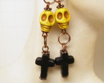 Day of the Dead Earrings Turquoise Black Cross Yellow Skulls Jewelry Rockabilly Jewelry Goth Day of the Dead Jewelry Halloween Earrings