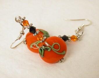 Pumpkin Earrings, Sterling Silver Thanksgiving Earrings, Halloween Earrings, Artisan Lampwork Pumpkin Jewelry, Thanksgiving Jewelry, OOAK