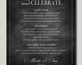 Eat Drink and Celebrate 16 x 20 Wedding Menu, Poster, or Table Sign - Chalkboard Style by Abigail Christine Design