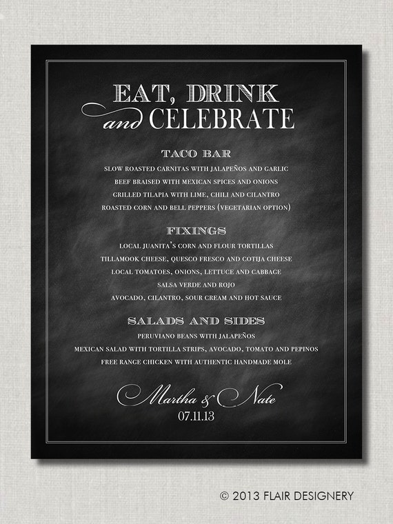 Items similar to eat drink and celebrate 16 x 20 wedding for Table 52 drink menu