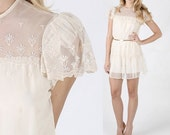 Vintage 70s Sheer embroidered lace draped boho Wedding cocktail party mini dress
