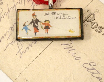 A Merry Christmas - Ice Skaters with Dog Vintage Postcard Necklace