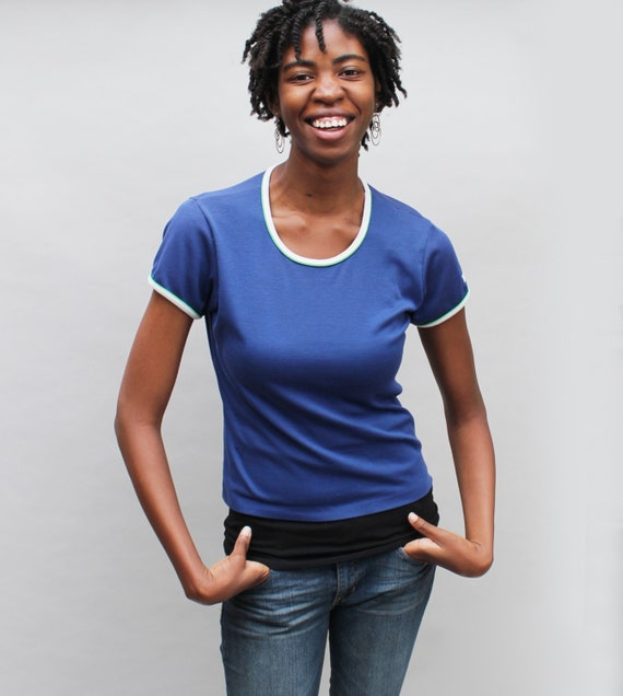 70s vintage nike t shirt scoop neck navy blue with white and for Navy blue and white nike shirt
