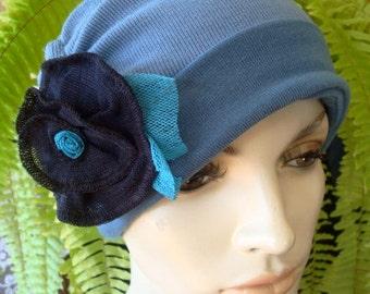 Womens Chemo Hat Set Three piece Denim Blue MerinoWinter Cloche Slouchy with detachable Flower