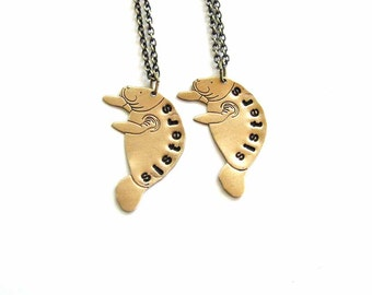 sisters manatee necklace set - brass personalized custom jewelry