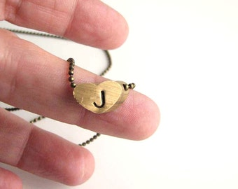 initial heart necklace - vintage brass 3D heart with your letter - hand stamped jewelry