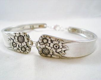 Spoon Bracelet, FREE CUSTOM ENGRAVING, Sunflower Wedding, Bridesmaid Bracelet, Wedding Jewelry, Christmas, Silverware Jewelry April 1950