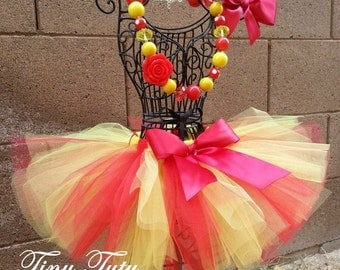 CHERRY LEMONADE- Red and yellow tutu with hairbow:  Newborn-5T