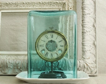 Large Antique Blown Aqua Glass Battery Jar