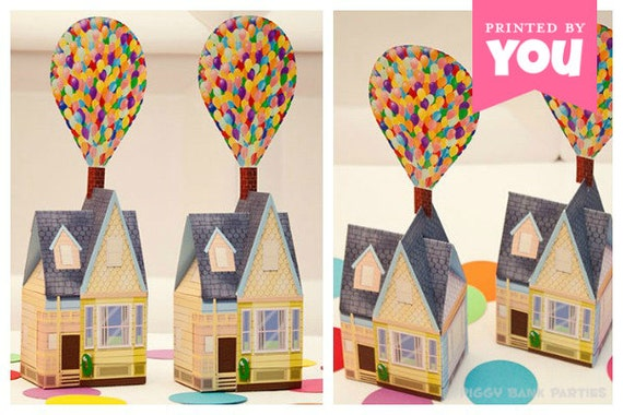 Balloon House Favor Box - Large : Print at Home Full-Color Template | UP Inspired House | DIY Printable | Digital File - Instant Download