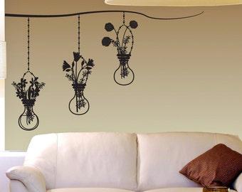 Vinyl Wall Decal Sticker Hanging Flower Vases OSDC671s