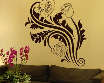Vinyl Wall Decal Sticker Tribal Roses 1238m