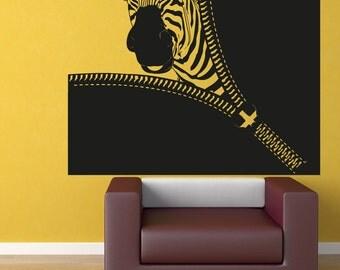 Vinyl Wall Decal Sticker Zebra Zipper OSAA1369s
