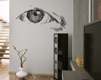 Vinyl Wall Art Decal Sticker Eye Sketch 1298s