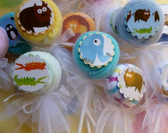 Baby Washcloth Lollipop Bundle of 10.. Animal Birthday Party Favors..Safari Baby Shower..Baby Shower Favors..One Free..Currently on Sale  :)