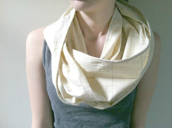 Infinity Scarf. Circle Scarf.  Ivory black delicate yellow plaid. Modern Scarf.