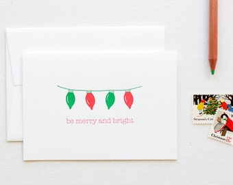 Merry and Bright Lights Holiday Letterpress Card