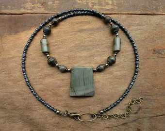 Blue Gray Jasper Necklace, slate blue Picasso jasper pendant necklace with rustic blue green gray stone beads, Boho Bohemian style jewelry