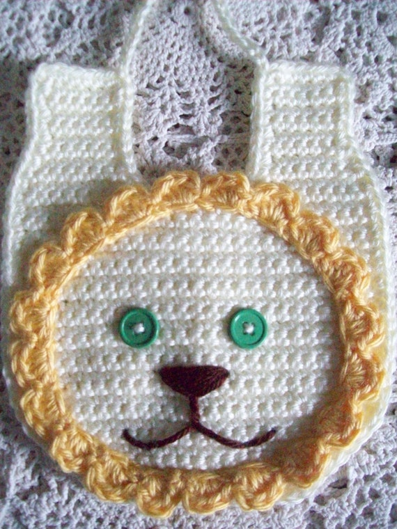 Sweetest Hand Crochet - LION BABY BIB - Baby Girl or Boy -  Made in Usa with Free Shipping