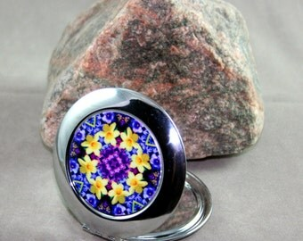 Daffodil Compact Mirror Pocket Mirror Boho Chic Mandala Sacred Geometry Hippie Kaleidoscope Mod Gypsy Unique Gift For Her Sentimental Spring