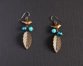 Dove and leaf earrings aqua blue and antiqued gold - surgical stainless steel earwires, nickel free and lead free