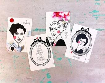 Set Postcards (4) 'Les Belles Dames' #1