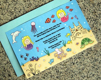 under the sea birthday party invitations fully custom girl mermaids, fish, coral, sandcastle with envelopes - set of 10