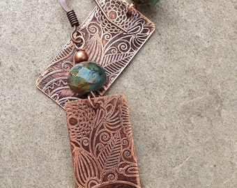 Copper Earrings / Etched Copper Earrings / Copper Jewelry