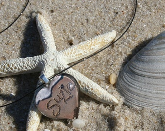 Personalized Name Necklace Gift Custom Beach Writing Pendant from the Jersey Shore