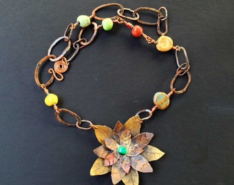 Fall Whimsey Copper and Brass Flower Pendant