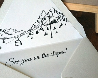 Ski Resort Skyline Destination Wedding invitation SAMPLE ONLY; Aspen, Vail, Breckenridge